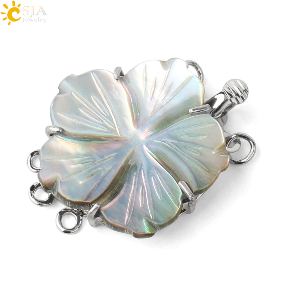 CSJA Natural White Abalone Shell Accessories Engraved Flower Connector 3 Clasps For DIY Women Multilayer Bracelets Necklace G388