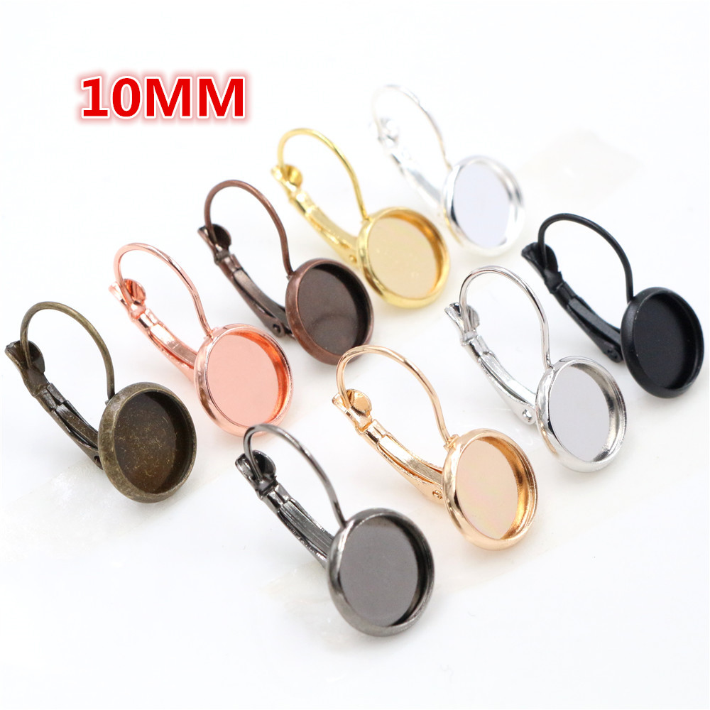 10mm 10pcs 9 Colors Plated French Lever Back Earrings Blank/Base,Fit 10mm Glass Cabochons,Buttons;Earring Bezels