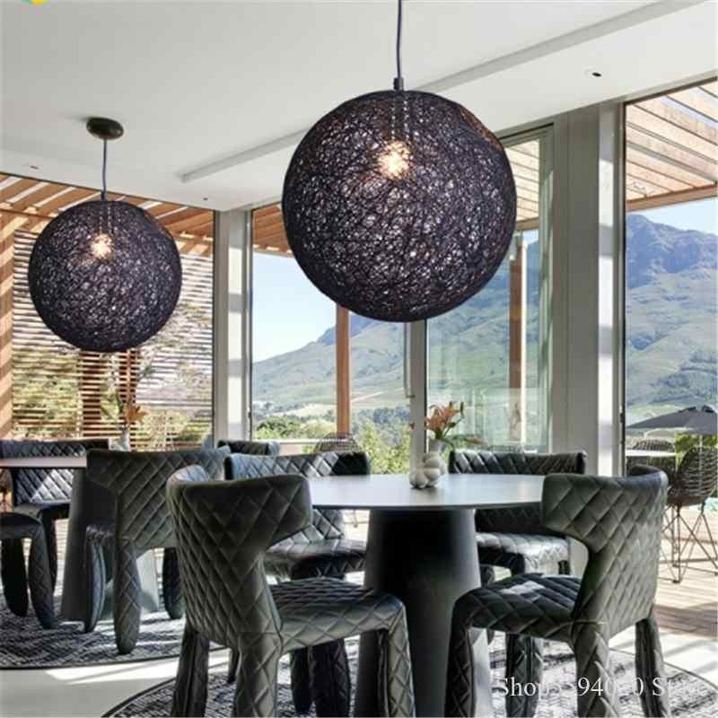 Nowoczesny prosty konopny żyrandol w kształcie kuli światła salon jadalnia kolorowe sferyczne Hanglamp Loft Decor dzieci oprawa projekt