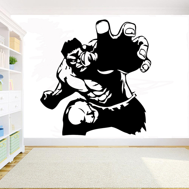 Cartoon Superhero Hulk Wall Decal Living Room Wall Art Mural Kids Room Decor Removable Vinyl Sticker Decoration Accessories Y165