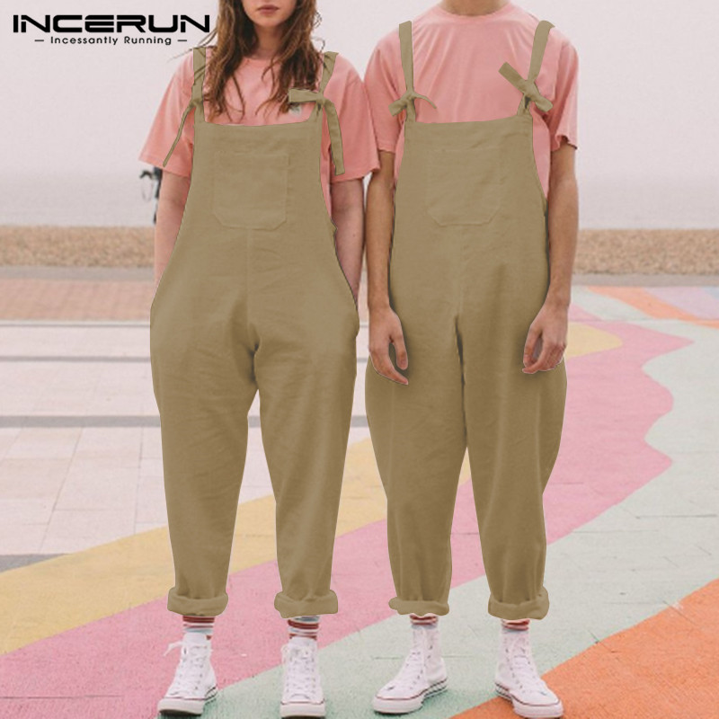 Fashion Trend Men Full Cotton Solid Color Strap Overall Rompers Loose Pockets Jumpsuit Wide Leg Street Paysuit Men&Women INCERUN