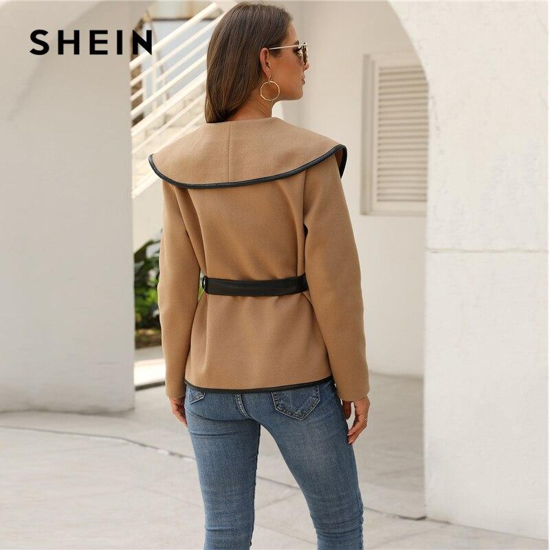 SHEIN Solid Contrast Binding Waterfall Collar Casual Coat With Belt Women 2019 Autumn Streetwear Long Sleeve Ladies Outwear 2