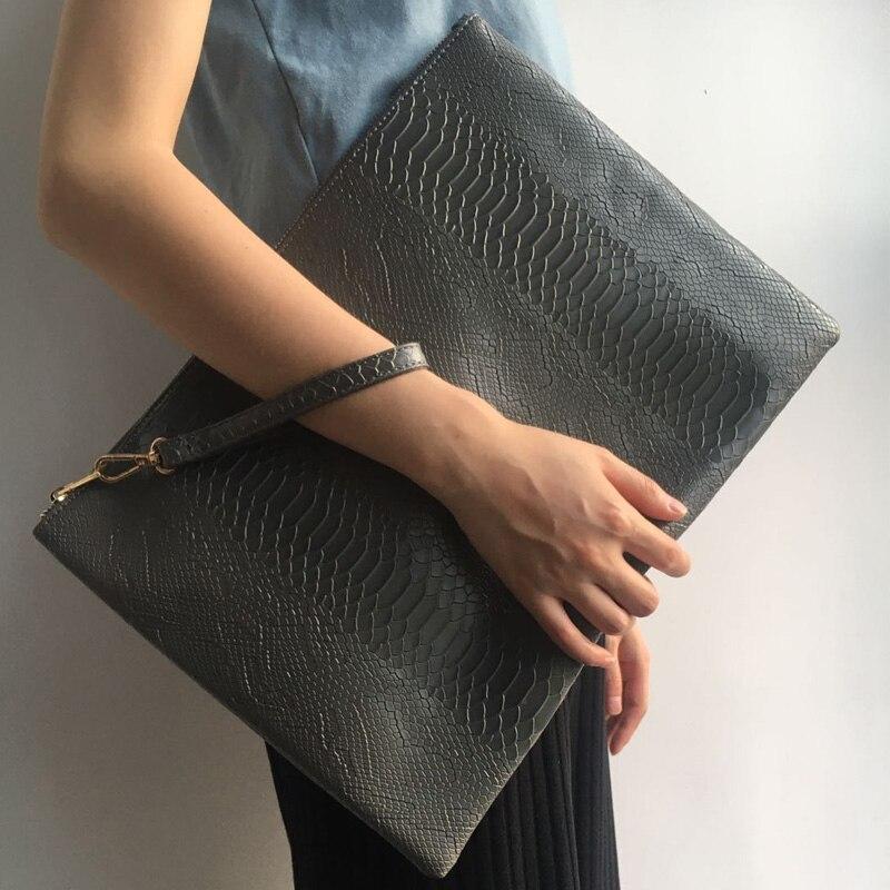 Модная большая серая сумка для ноутбука из питона, сумка-клатч на молнии, сумка-конверт из крокодилового страуса, сумочка-кошелек
