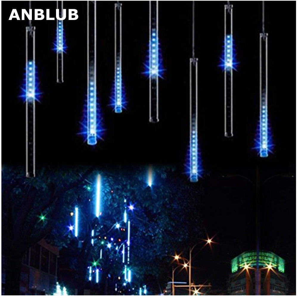 ANBLUB 30cm 50cm Waterproof LED Meteor Shower Rain Lights 8 Tubes For Outdoor Holiday Christmas Tree Decoration With EU/US Plug