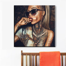 Canvas Painting Wall picture Prints On New Graffiti Street Wall Art Abstract Modern African Women Portrait Decor For Living Room(China)