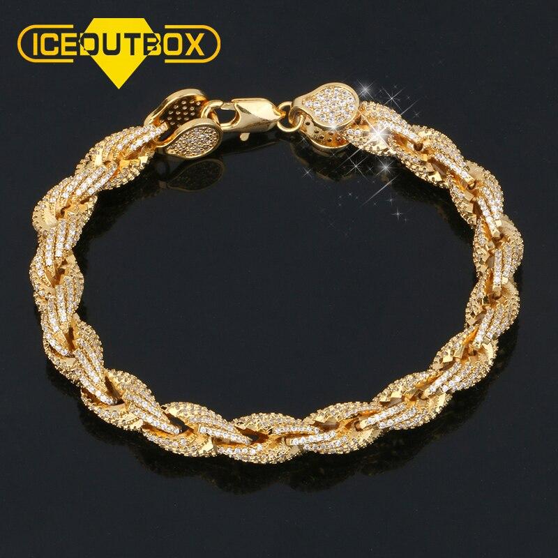 Hip Hop 8mm corde Bracelet or Hippie Rock strass chaîne Bracelet pour hommes main chaîne & lien Bracelet à la mode garçons bracelets