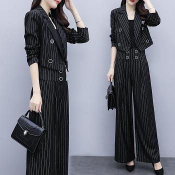 Fashion Vintage Casual Blazer Women's Office Slim Jacket Stripe High Waist Wide Leg Pants Suit 2 Piece Sets Female harajuku 1