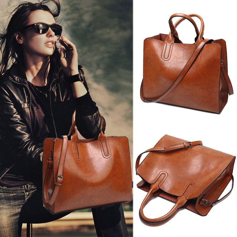 Bolso de mujer de cuero genuino 2020 bolso de moda de marca para mujer bolso de H19-001 Negro Bolso de hombro grande