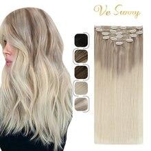 Vesunny двойные волосы для наращивания на заколках 100% настоящие