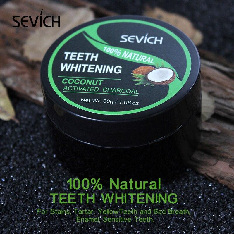 Кокосовая пудра Sevich для отбеливания зубов, уход за полостью рта, 30 г, отбеливающий порошок с древесным углем, органический активированный ба...