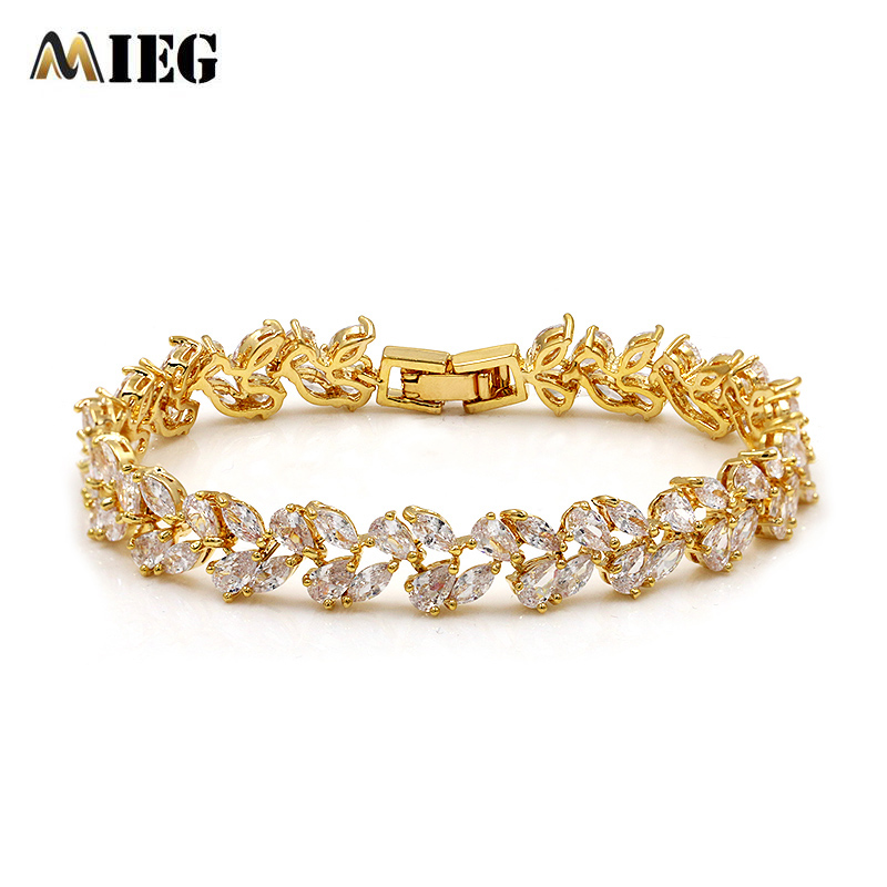 MIEG 1PC Brand Fashion High Quality Gold Color Plated Charm Leaf Crystal CZ Cubic Zirconia Bracelets Bangle Jewelry Party Gift