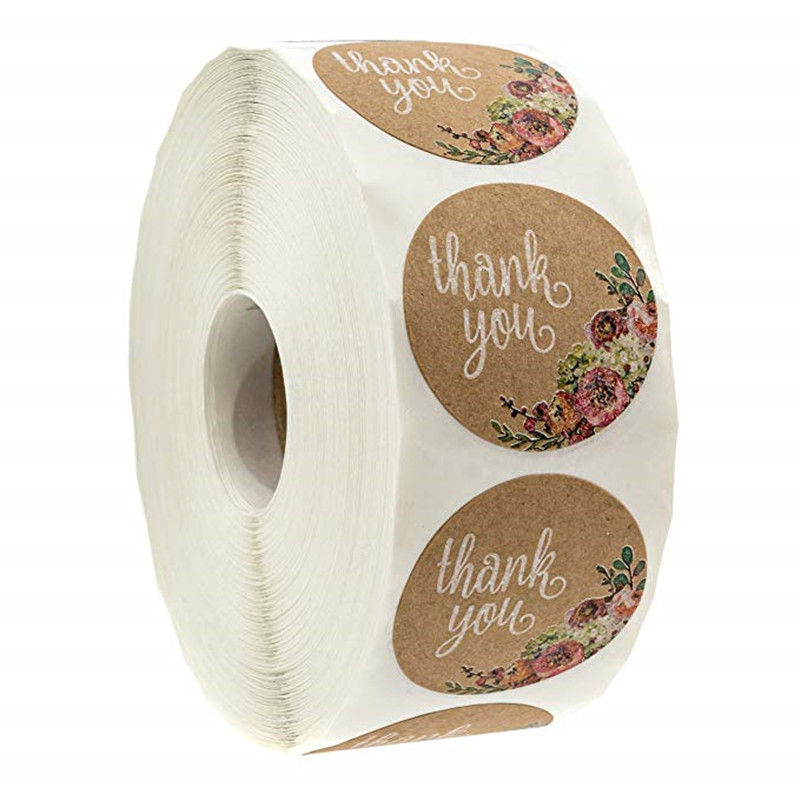 100-500Pcs/roll Thank You Stickers For Seal Labes 1inch Handmade Sticker Brown Kraft Floral Scrapboo