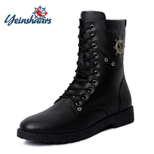 YEINSHAARS Combat-Boots Boot-Flat-Low-Heel Mens Flat Lace Up Westerm Combat Boots Buckles Motorcycle Boots Snow Boots cheap Mid-Calf Lace-Up Fits true to size take your normal size Round Toe Solid Metal Decoration Rubber Winter Adult Flat (≤1cm)