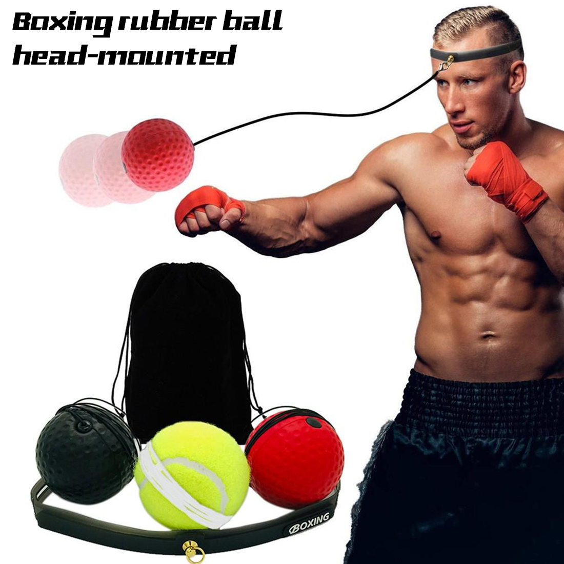 Boxing Reflex  Ball Speed With Adjustable Headband Head-mounted Boxing Reaction Training Ball Fitness Equipments