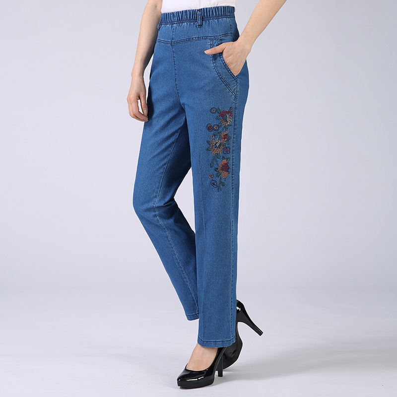 Mom Pants Spring And Autumn 2018 New Style Embroidered High Waist Jeans WOMEN'S Pants Loose-Fit Straight-leg Pants Middle-aged W
