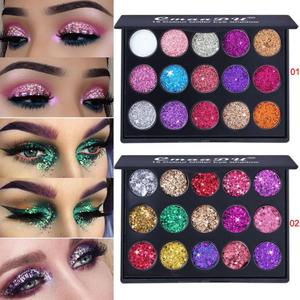 15 Colors Diamond Sequin Eyeshadow Palette High Gloss Shimmer Shiny Glitter Eye Shadow Waterproof Cosmetic Beauty Makeup TSLM2