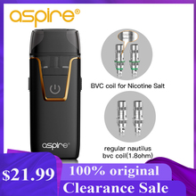 E Cigarettes Aspire Nautilus AIO Vape Kit 4.5ml/2ml Pod System Atomizer BVC Coil Built in 1000mAh Battery Vaper Vaporizador