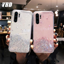 YBD Glitter Star Silicone Case For Huawei P30 Lite P20 Pro P10 P9 PLUS Clear Cute Sequins Soft Cover For  MATE 10 20 lite 30 pro