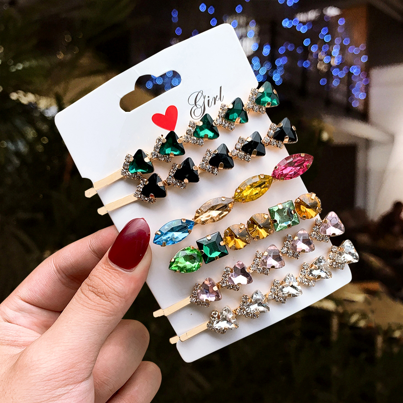 1/2PC Rhinestone Diamond Women Hairpins Shining Fashion Round Oval Hair Clips For Women Hair Accessories 2019 New
