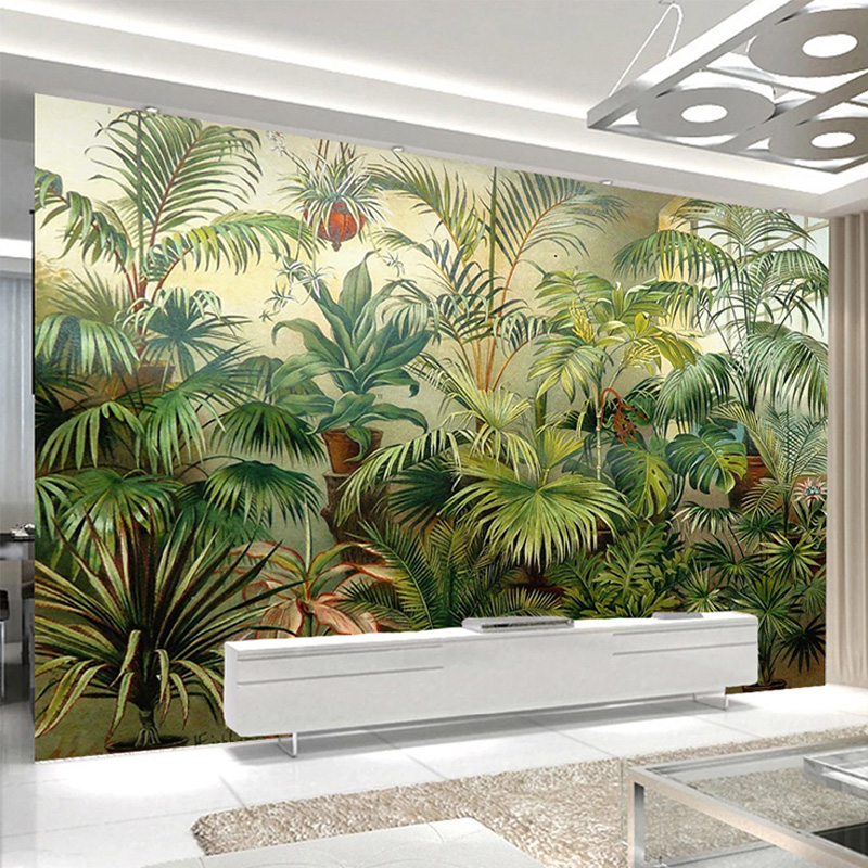Custom Photo Wallpaper Retro European Style Hand-painted Coconut Tropical Rain Forest Murals Living Room TV Sofa Decor Wallpaper