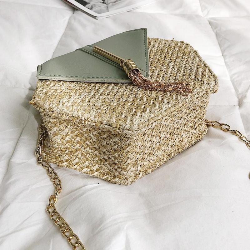 แฟชั่นหกเหลี่ยม Mulit สไตล์ + กระเป๋า pu กระเป๋าถือผู้หญิงฤดูร้อนกระเป๋าหวาย 3