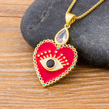Fashion Heart Shape Evil Eye Statement Choker Necklace Zirconia Copper CZ Necklace For Women Pendant Jewelry Accessories Gift fashion accessories jewelry gift titanium two half heart puzzle pendant cz diamond lovers couple pendant necklace for men women