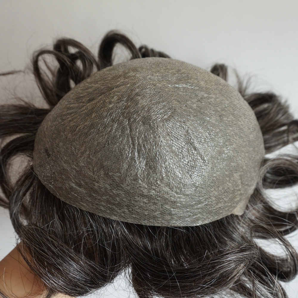 Hstonir 4ash # peluca para hombres, cabello indio Remy, sistema de tupé para hombres, piel súper fino H078