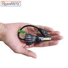 BraveWay 2PCS H7 LED Lamp for Car H4 H11 HB3 HB4 9005 9006 H1 LED Headlamp 6000K 12V Car Headlight Bulbs LED HB3 HB4 Fog light autoshine 9005 9006 hb3 hb4 led headlight car light source replacement 60w 7200lm auto headlight headlamp fog lamp drl with fan