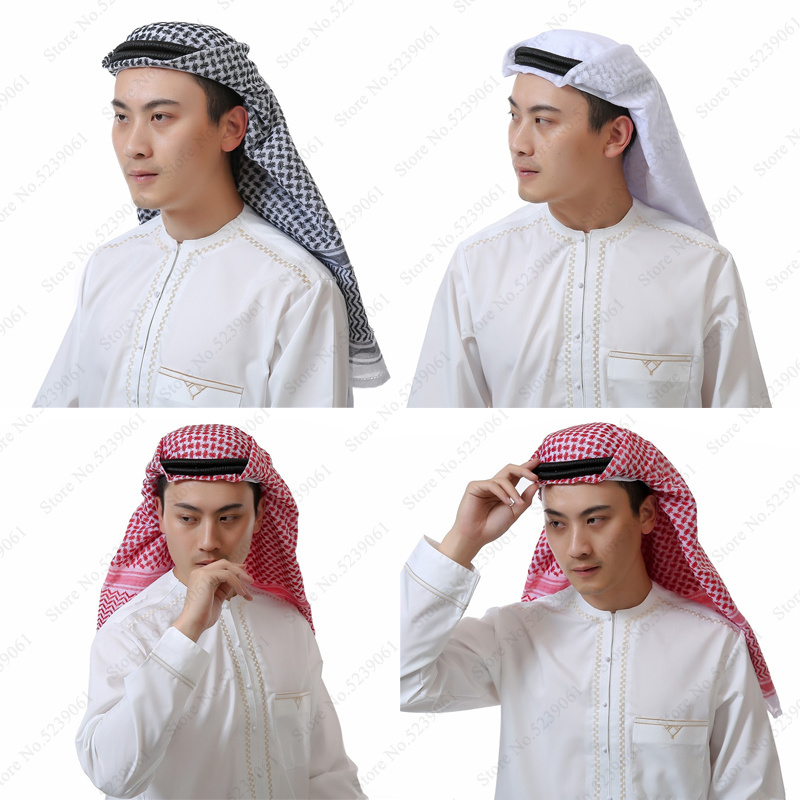 Arab Muslim For Men Abaya Arabic Head Scarf Prayer Hats Islamic Clothing Turban Dubai Hijabs 135*135cm Man Kaftan Caps Headpiece