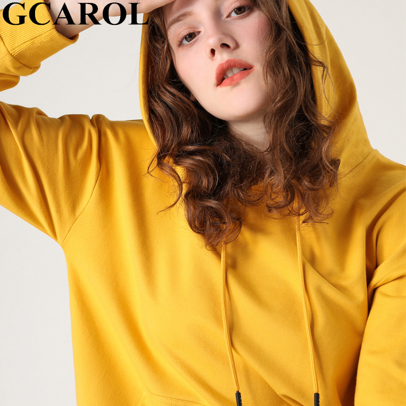 GCAROL New Women Preppy Style Solid Hooded Leisure Oversize Thin Fall Winter Sweatshirt Sporty Basic Render Pullover Plus M-2XL