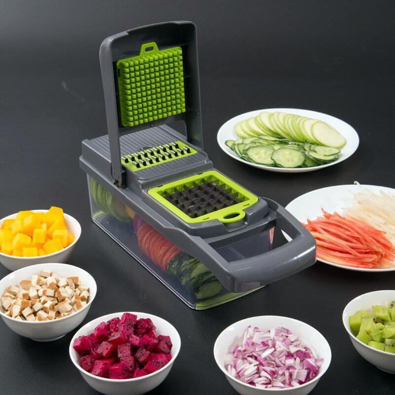 Многофункциональный измельчитель овощей, измельчитель, стальное лезвие, слайсер для картофеля, ножи для фруктов, терка для моркови, кухонны...