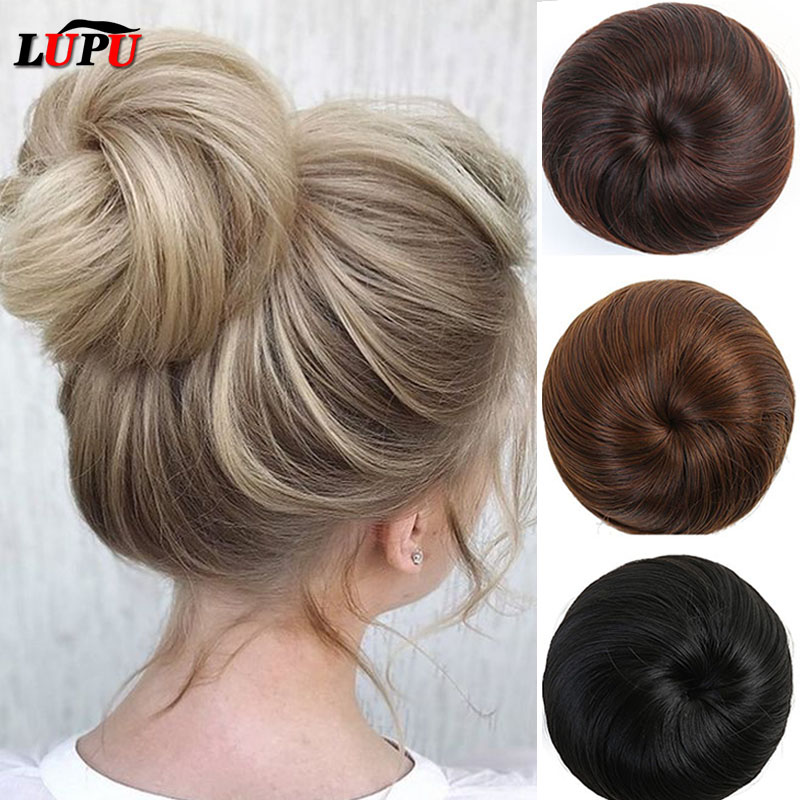 LUPU Synthetic Hair Bun Elastic Scrunchie Chignon Clips In Fake Hair Extensions High Temperture Fiber Hairpieces Headwear