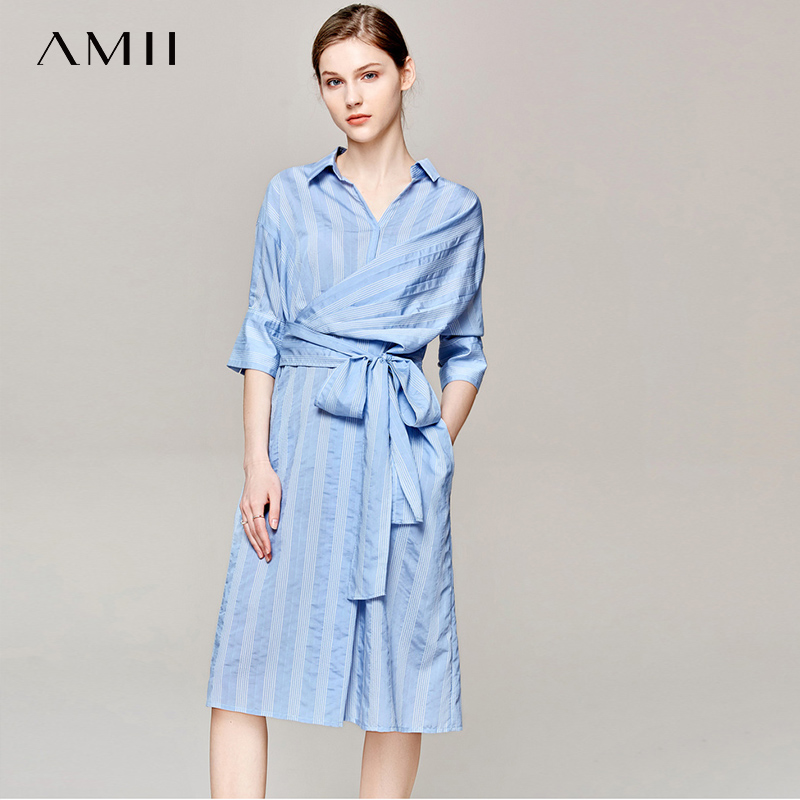 Amii Summer Women Stripe Shirt Dress Female Elegant Turn Down Collar Strap Dresses 11940238