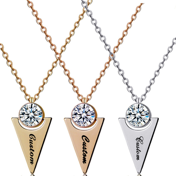 Personalized Triangle Pendant Necklace Custom Stainless Steel Name Necklace Cubic Zirconia Jewelry Mother's Day Gifts metal triangle pendant necklace
