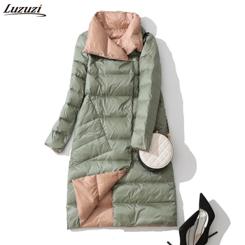 Luzuzi Women Double Sided Down Long Jacket Winter Turtleneck White Duck Down Coat Double Breasted