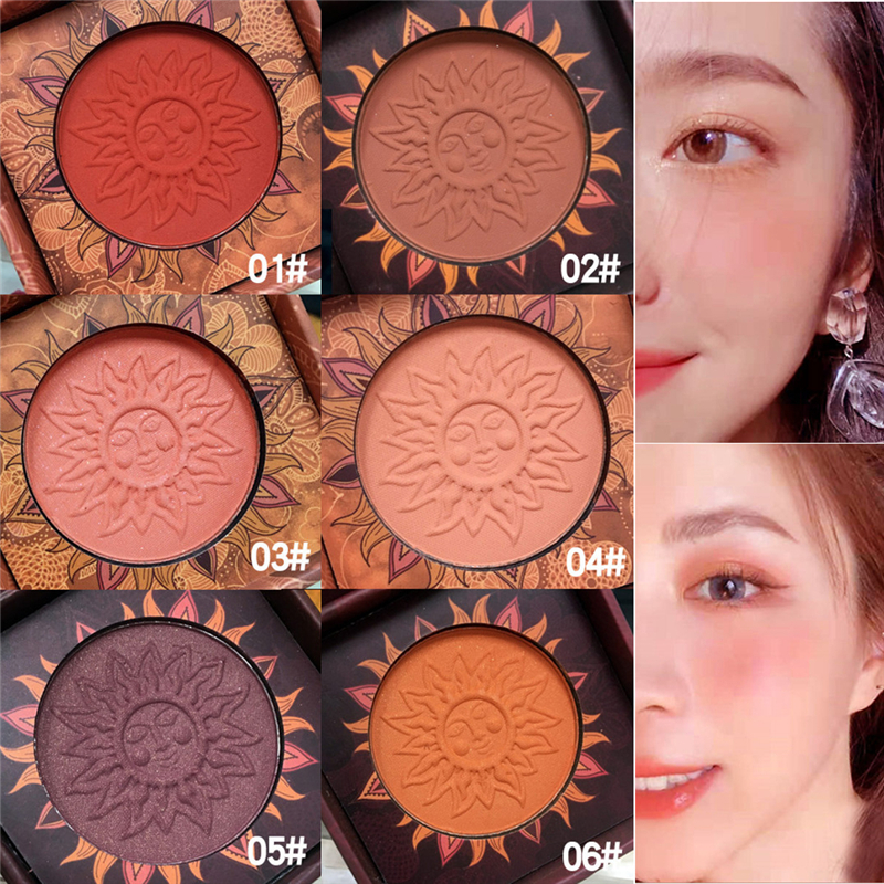Face Blusher Powder Rouge Makeup Vintage Retro Cheek Blusher Palette Waterproof Long Lasting Natural Facial Blush Powder Contour