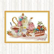 Afternoon Tea Cross Stitch Fabric Aida Canvas 14ct 11ct Printed DMC Cotton Thread Embroidery Kit DIY Crafts