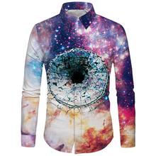2019 Men Long Sleeve Shirt Colorful Galaxy Men Shirt for Man Slim Skinny Haiwaiin Shirts for Beach Party Men Clothing недорого