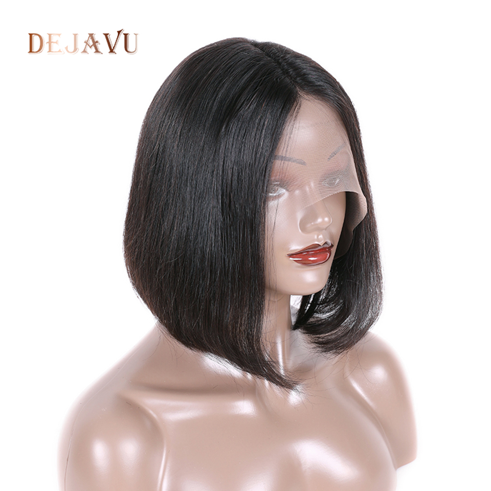 Dejavu Straight Hair 13*4 Lace Closure Frontal Wig 100% Human Hair Bob Wigs Lace Wigs For Black Women Non Remy Peruvian Hair