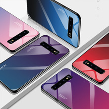 Glossy Gradient Tempered Glass Case For Samsung A30 A70 S8 Plus  Cover Colorful Coque