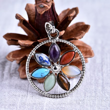 1PC Natural Crystal Seven Chakra Round Pendant Mineral Jewelry Guardian Gemstone Fashionable Couple Pendant Necklace DIY Gift Jewelry(China)