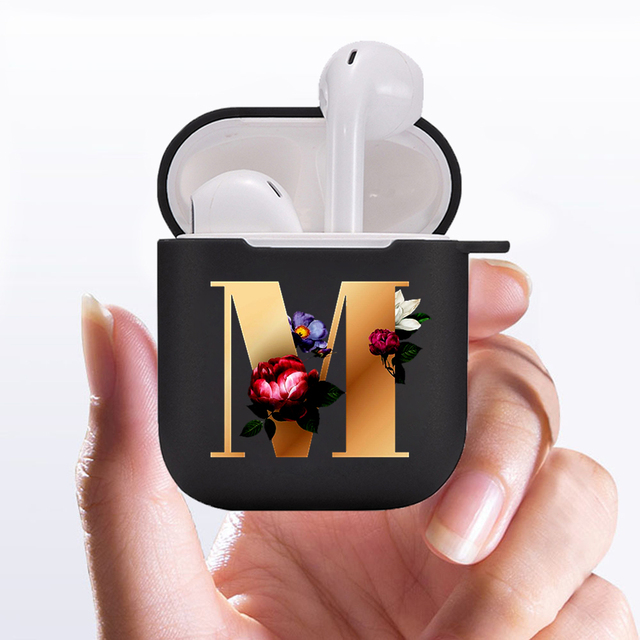 ETUI For Apple AirPods 2 1 soft Black Protective Cover Accessories Custom letter Fashion flower Earphone Case Charging Box Case