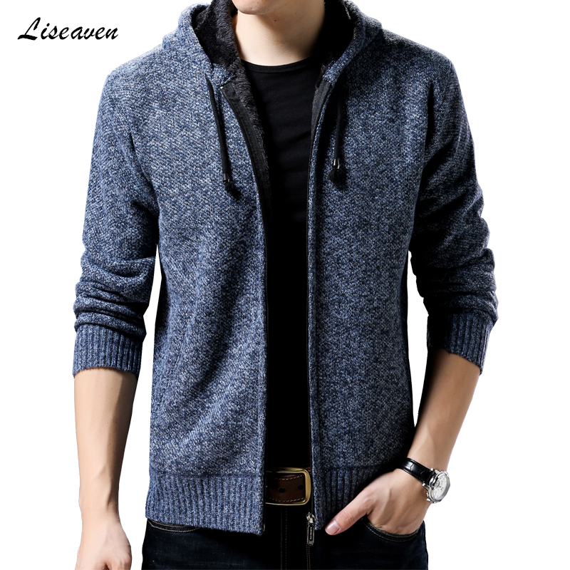 Liseaven Men's 2019 Thick Warm Jackets Hooded Jacket Fashion Men's Sweaters Long Sleeve Winter Cardigan Coat