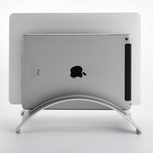 Double Slot Aluminum Alloy Space-saving Laptop Vertical Stand Desktop Erected Holder