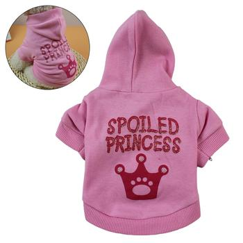 Pet Dog Puppy Crown Letter Print Pink Clothes Soft Warm Hoodie Jacket T-shirt Costume image