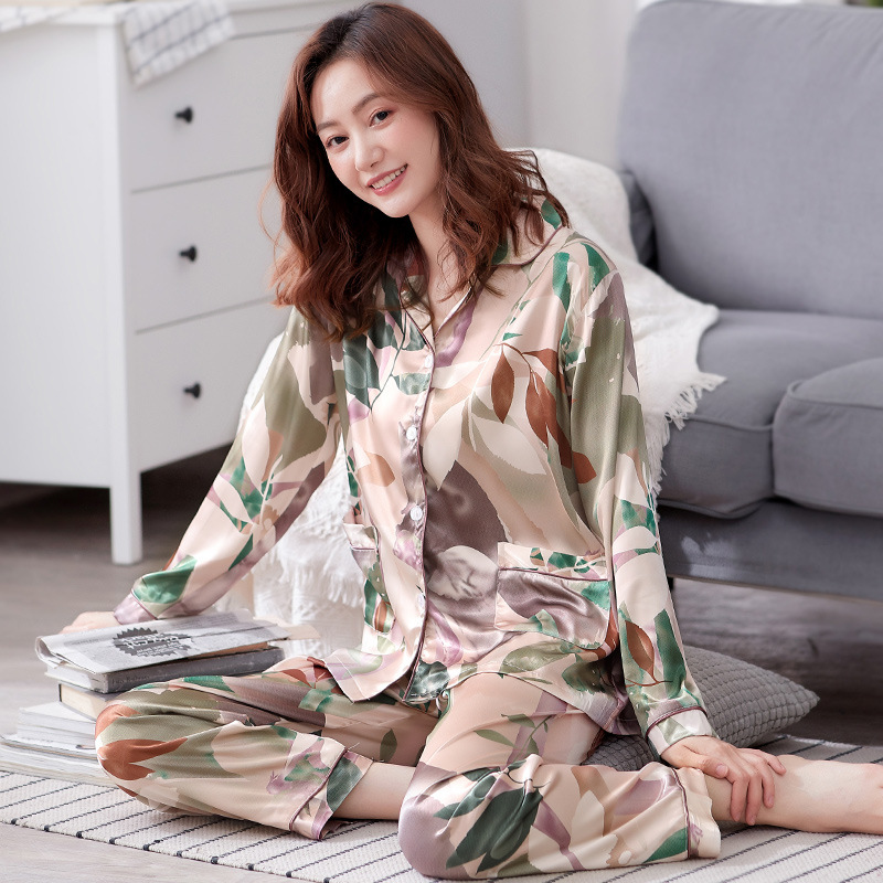 Floral Printed Pajamas Set for Women Spring and Summer Ice Silk Long-sleeved Trousers Two-piece Suit Cute Pijama Mujer