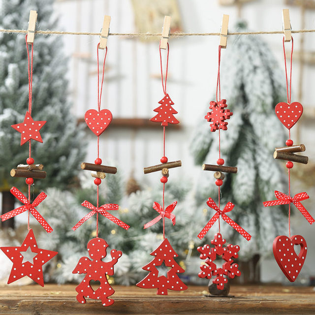 2020 Xmas Letters Elk Tree Wooden Sign Christmas Decoration for Home Pendant Hanging Ornament New 15