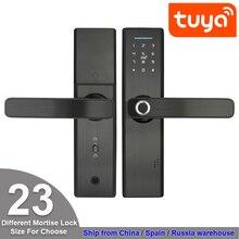 RAYKUBE cerradura electrónica Tuya con huella dactilar biométrica, código Digital, tarjeta inteligente, cerradura de puerta con mortaja, cerrojo sin llave