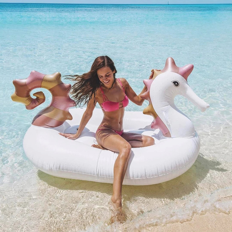 Hippocampus Inflatable Floating Island Air Mattress, Beach Swimming Pool Toys,summer Festival Party Giant Float For A