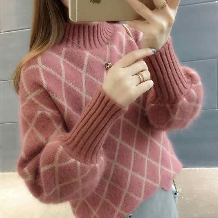 Womens Casual Lantern Sleeve Turtleneck Plaid Knitted Oversize Pullover Sweater Loose Thick Jumper Tops Korean New Winter Q9234